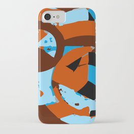 Orange and blue abstact composition 1 iPhone Case