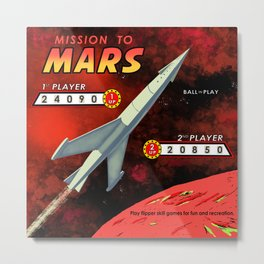 Mission To Mars Retro Pinball Metal Print