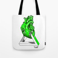 anatomical heart Tote Bags featuring Green Anatomical heart  by Mia Hawk