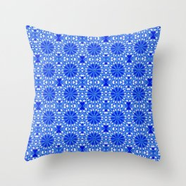 Sapphire Blue Star Throw Pillow