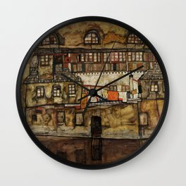 """Egon Schiele """"House Wall on the River"""" Wall Clock"""