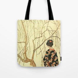 Girl under a Willow Tree by Emil Orlik - Czech Japonist Drawing Tote Bag