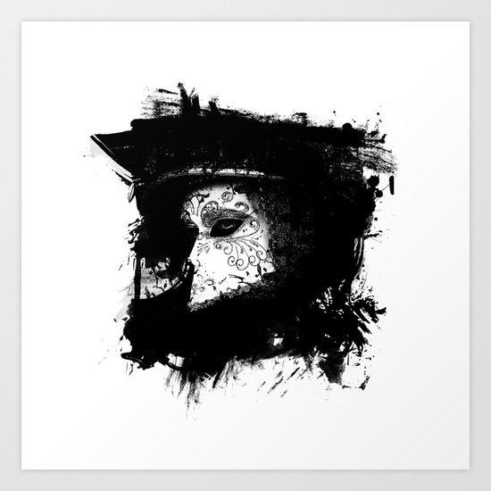 Mask Black/White Art Print