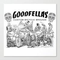 goodfellas Canvas Prints featuring Goodfellas Custom Bicycle Brigade - Calaveras Logo by Goodfellas Custom Bicycle Brigade
