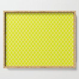seamless oriental pattern, yellow grid - morocco   pattern Serving Tray