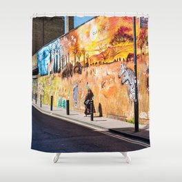 Street art in Brick Lane, London Shower Curtain