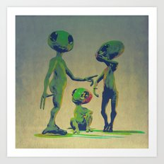 Little Green Family Portrait Art Print