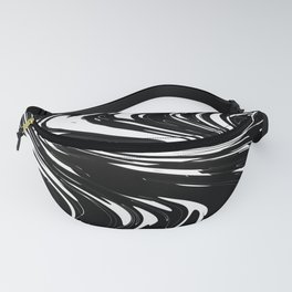 Zigzags in White and Black Fanny Pack