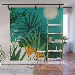 Tropical Moonlight / Night Scene Illustration Wall Mural