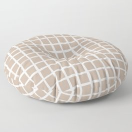 Strokes Grid - Off White on Nude Floor Pillow