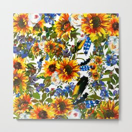 Abstract navy blue yellow watercolor sunflowers pansies pattern Metal Print