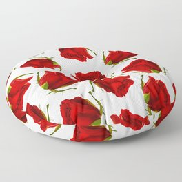 Romantic red green roses floral pattern Floor Pillow