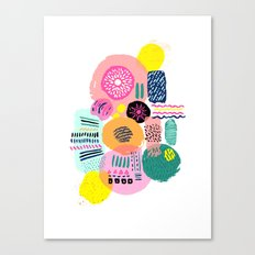 Bright Circles - abstract collage illustration Canvas Print