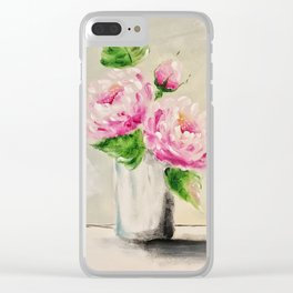 Finger Painted Peonies Clear iPhone Case