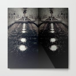Darker Still - Fountain in Midnight and Black Metal Print