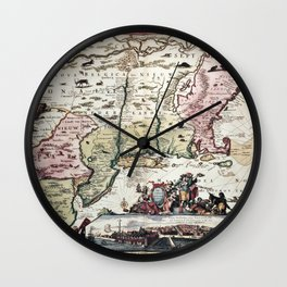 New England old map with New Amsterdam Wall Clock