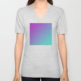 Dark Magenta Pink Purple and Light Cyan Aqua Blue Green Gradient Ombré Unisex V-Neck