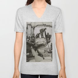African American WWII Soldiers on Airplane in Oschersleben, Germany, 1945 Unisex V-Neck
