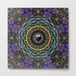 Purple Yin Yang Sacred Geometry Fractals Metal Print