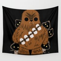 chewbacca Wall Tapestries featuring chewbacca wookiee by trevacristina