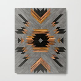 Urban Tribal Pattern 6 - Aztec - Concrete and Wood Metal Print