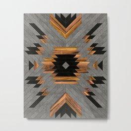 Urban Tribal Pattern 6 - Aztec - Concrete and Wood Metal Print