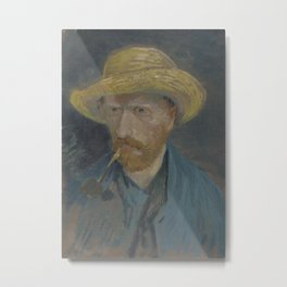 Self-Portrait with Straw Hat and Pipe Metal Print