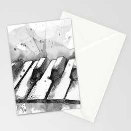 Watercolor Piano (Grayscale) Stationery Cards