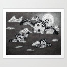 Flight of the Huskies - charcoal drawing Art Print