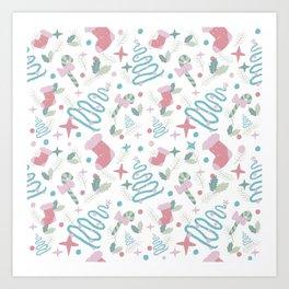 Pastel and White Christmas pattern Art Print
