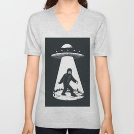 Bigfoot abducted by UFO Unisex V-Neck
