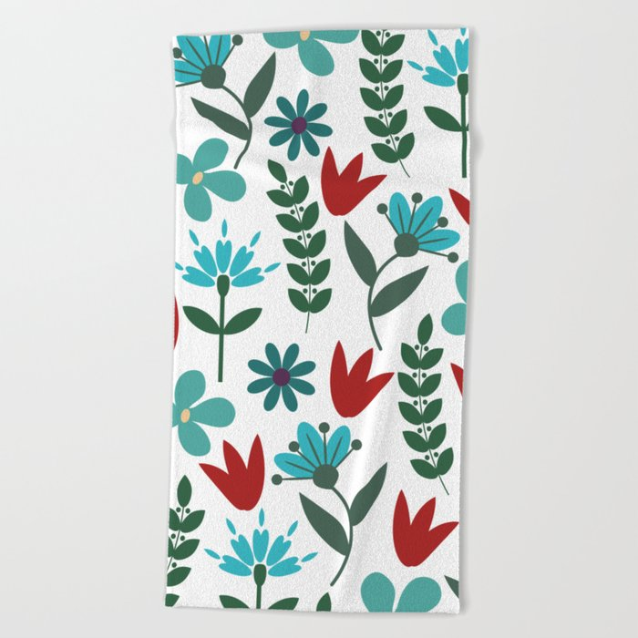 Flower Pattern VIII Beach Towel