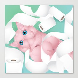 naughty toilet paper cat Canvas Print