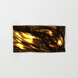 Saturated copper and smooth sparkling lines of black tapes on the theme of space and abstraction. Hand & Bath Towel