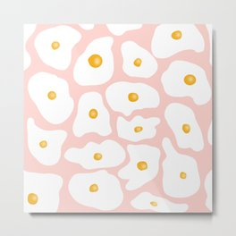 Funny trendy hand drawn fried eggs pattern pink pastel Metal Print