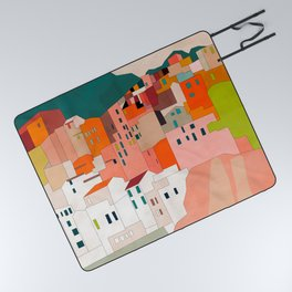 italy coast houses minimal abstract painting Picnic Blanket
