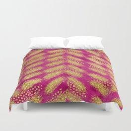 Fuchsia Gold Brush Pattern 02 Duvet Cover