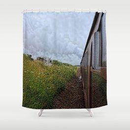 Steam train coach reflection Shower Curtain