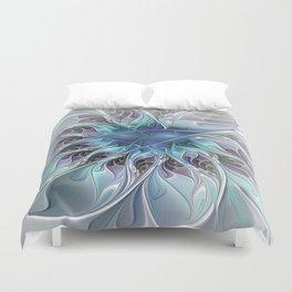 Flourish Abstract, Fantasy Flower Fractal Art Duvet Cover