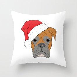 Christmas Festive Boxer dog Throw Pillow