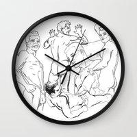 boys Wall Clocks featuring Boys by vooduude