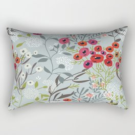 Red Poppies with Blue Rectangular Pillow