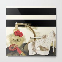 Paris Eu de parfum, Heels & Lipstick Metal Print