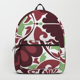 Mid Century Modern Flower Pattern Red and Green Backpack