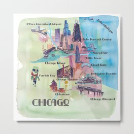 Chicago Favorite Map with touristic Top Ten Highlights in Colorful Retro Style Metal Print