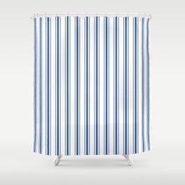 Mattress Ticking Wide Striped Pattern In Dark Blue And White Shower Curtain
