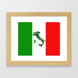 Map of Italy and Italian Flag Framed Art Print