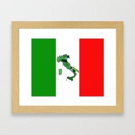Map of Italy and Italian Flag Framed Art Print