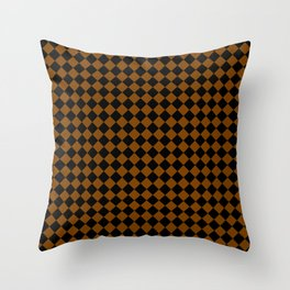 Black and Chocolate Brown Diamonds Throw Pillow