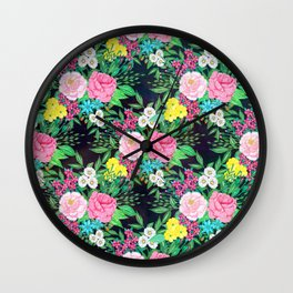 Pretty hand paint watercolor floral design Wall Clock